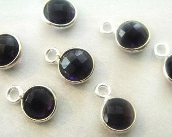 Black Onyx Bezel Pendant Charm,  925 Sterling Silver, 7mm GemStone