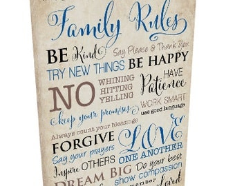 Custom Family Rules Canvas Gallery Wrap