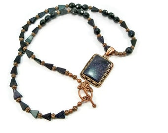 Rectangle Pendant Gemstone Necklace, Blue Goldstone, Copper Beaded Necklace, Mother's Day Gift, Trending Jewelry, Blue and Copper