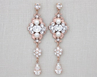Rose Gold Bridal earrings, Crystal Wedding earrings, Bridal jewelry, Statement earrings, Swarovski crystal earrings, Long earrings, ASHLYN