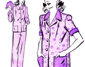 Retro Pajamas with Contrasting Collar, Cuffs and Pockets! Vintage 1940s Advance Sewing Pattern 2872, Misses' Contrasting Pajamas, Size 16