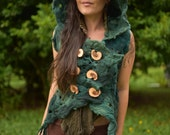 Felt Melted Woodland Nymph Of The Forest Tree Roots Vest With Pixie Pointed Hood OOAK