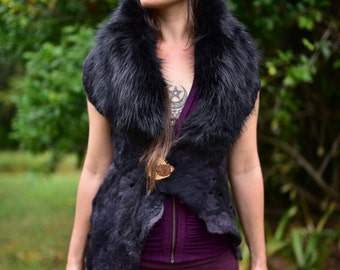 Felt Melted Charcoal Goddess Of The Wild Animals Woodland Primitive Tribal Vest With Faux Fur Collar OOAK
