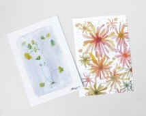 Blooming Flower watercolor painting reproduction postcard, Spring flower Illustration art card, Flower botanical painting, Flower stationery