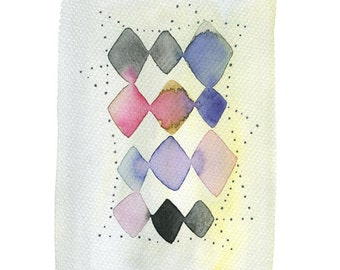 Geometric abstract original painting, Diamond shape pattern watercolor painting, Modern contemporary art, Geometric Watercolor, Unique Art