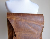 LEATHER Large Oversized Huge Clutch Bag Purse Shoulder Strap Cross Body - Raw & Rustic with Raw Edge Leather