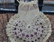 1920's Purse, Hand Crochet Purse, Wrist Handle, Cotton Crochet, Wedding Purse, Bridal Purse, Flapper Purse