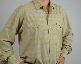 Vintage Men Shirt, Rockabilly Shirt, Country Western Shirt, Yellow Shirt, H Bar C Shirt, Ranch Shirt, Long Tail, Checked Shirt, Pearl Snaps