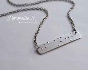 REAL BRAILLE, Braille Necklace, Braille Jewelry, Braille, Personalized Braille, Braille Bar Necklace, Can Be Read By Visually Impaired