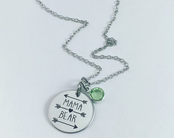 Mama Bear, Birthstone Necklace, Mama Bear Jewelry, Mama Bear Necklace, Mom Jewelry, Mama Bear Birthstone Necklace, Baby Gift, Mothers Day