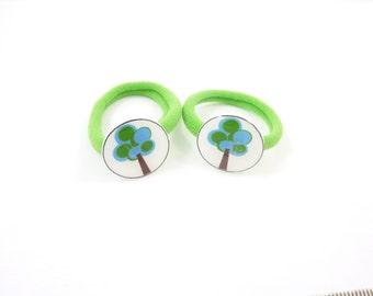 2 Cute Tree Ponytail Elastics. Handmade Button Accessory. Medium Size Green Elastic.
