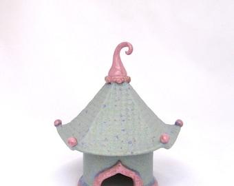 Stoneware Pagoda Toad House ceramic handbuilt Gardener Gift Fairy garden art sculpture outdoor decoration gardener gift zen Japanese