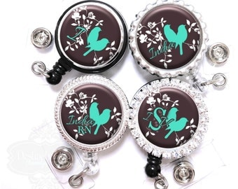 Retractable Badge Reel - Personalized Teal and Brown Love Birds Nurse Lanyard ID Holder with Name, Monogram, Occupation Title (A135)