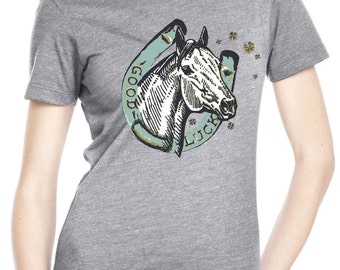 horse shirt - horse tshirt - womens tshirts - cowgirl shirt - cowgirl tshirt - luck shirt - cowboy shirt - GOOD LUCK shirt - crew neck