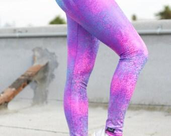 purple hologram leggings, yoga pants purple, yoga leggings violet, ombre yoga pants, hologram pants, sparkly leggings, tourmaline leggings