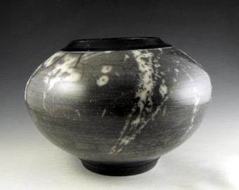 Ceramic Black and White Naked Raku Decorative Vase Art and Collectibles