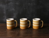 3 Ceramic Mugs For Coffee or Tea Bohemian Vintage Cups Yellow and White Bands From Nowvintage on Etsy