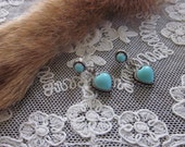 Southwestern/Native American Sterling Silver and Turquoise heart post earrings