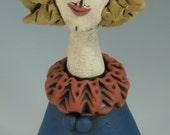 CERAMIC FIGURINE, Little People, Blue Figure, Clay Sculpture, Woman, Sculpted Figure, Porcelain figure, Clay People, Clay Sculpture