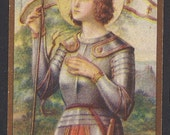 Antique French Holy Card of Saint Joan of Arc. Beautiful Old French Prayer Card of St. Joan of Arc. Beautiful Image!