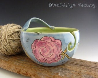 Yarn Bowl in Glossy Blue with Purple Rose Design - Pottery Yarn Bowl with Handle - by DirtKicker Pottery