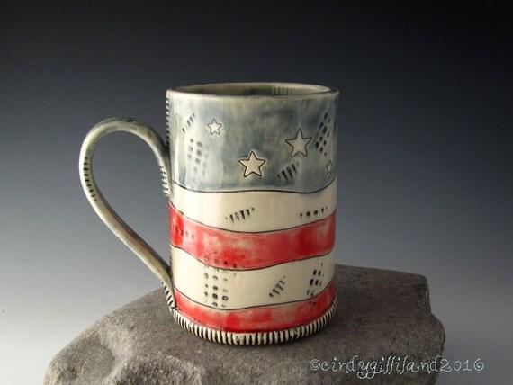 Pottery Mug in Americana Style - Old Glory - 4th of July Mug - Coffee Mug - Large Mug - DirtKicker Pottery