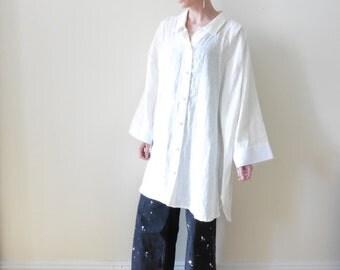 Oversized White Linen Shirt Dress
