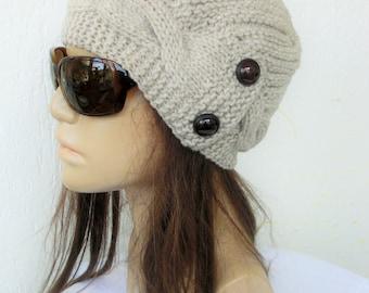 Women Knit Hat , Cloche Hat , Winter Hat , Gift for her Light Beige   Hat Winter Accessories Winter Fashion Women Fashion Accessories