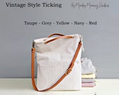 Summer Nautical Tote in Taupe Cotton Ticking , Spring Summer Purse, Beach  Striped Convertible Bag with Custom Leather Strap, Made in USA