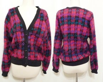 Bright & Black Cardigan Fluffy Chunky Vintage 80s Mohair Wool Acrylic Blend Sweater Rose Red Pink Argyle Plaid Buttondown VNeck Jumper sale