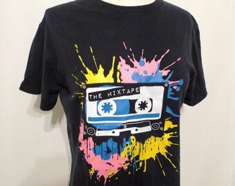 Black T-Shirt Cassette Mix Tape Neon Colors Faux Paint Splatter Yellow Pink Top Logo Commemorative Cotton Tee Shirt Lisa Frank Neon COlors