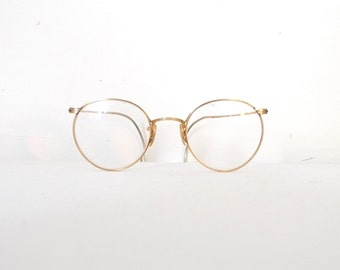 Adult Sized Yellow Gold Art Deco Victorian Eyeglasses. Vintage Lennon Frames. Antique Marshwood P3 Spectacles. Steampunk. ANtique. USA