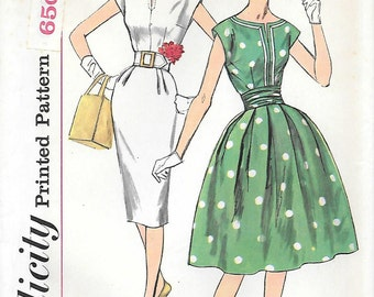 Simplicity 3472 UNCUT 1960s Dress with Two Skirts and Cummerbund Vintage Sewing Pattern Sizes 10 12 Wiggle Dress