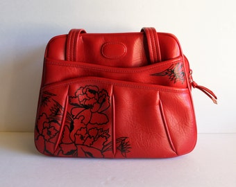 Vintage red PURSE with hand painted flowers / vintage red purse / painted purse / vintage flower purse / one-of-a-kind purse / floral purse