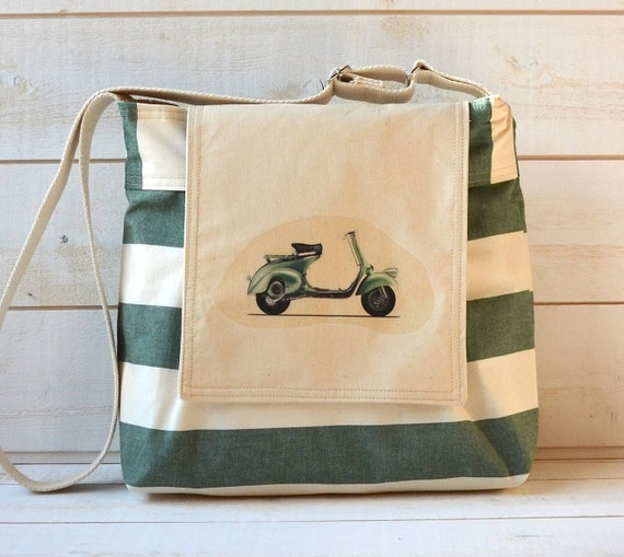 Diaper bag Stockholm Traditional emerald green and cream Vespa Scooter hand painted fashion