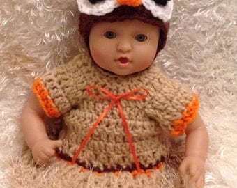 Clothes for 12 And 15 inch Doll.Owl Dress Set