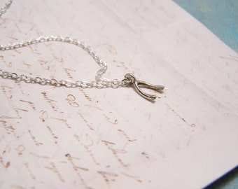 Make a Wish Necklace. Wishbone. Tiny Delicate. Minimalist