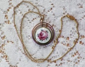 Vintage Guilloche Bubble Locket Pendant / Necklace, White Enamel / Guilloche with Pink Rose, Shabby / Romantic / Round