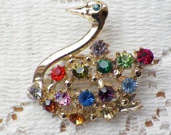 Vintage Sparkling Colorful Rhinestone Swan Pin / Brooch / Broach, Colored Rhinestones, Gold Tone Metal, Bird