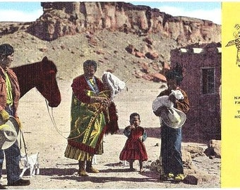 Vintage New Mexico Postcard - A Navajo Family (Unused)