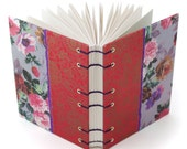 Floral handmade journal, gift for a writer, coptic stitch journal