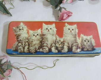 Vintage Toffee Tin Fluffy Kittens in a Row