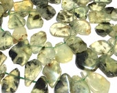 "Prehnite top side drilled slabs 7"" strand"