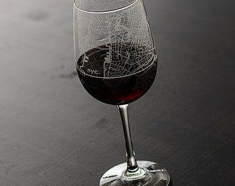 New York City Map Wine Glass