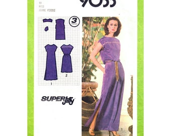 1970s Dress Pattern Simplicity 9033 Bateau Neck Dress Slit Maxi Dress Short Kimono Sleeves Side Pockets Women Sewing Pattern Size 10