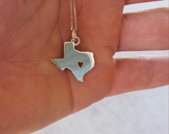Hurricane Harvey Relief Donation-Texas Charm Necklace, heart charm necklace. Deep in the heart of Texas