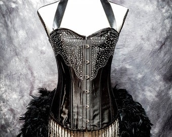 BLACK DIAMOND Steampunk Wedding Dress Burlesque Corset Costume EVERYTHING Included!!!