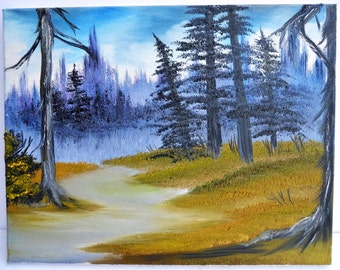 Bob Ross Style Oil Painting Landscape Snow Foothills Evergreen Trees Alaska Wilderness Artwork, 9 x 12 Stretched Canvas