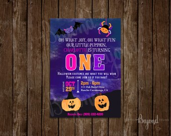 Our Little Pumpkin is turning ONE - Halloween themed first birthday invitation - Set of 12