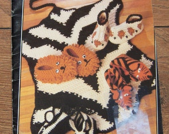 vintage 1991 crochet pattern fun fur rugs and slippers zebra lion leopard tiger